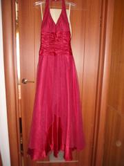 б/у красное атласное платье